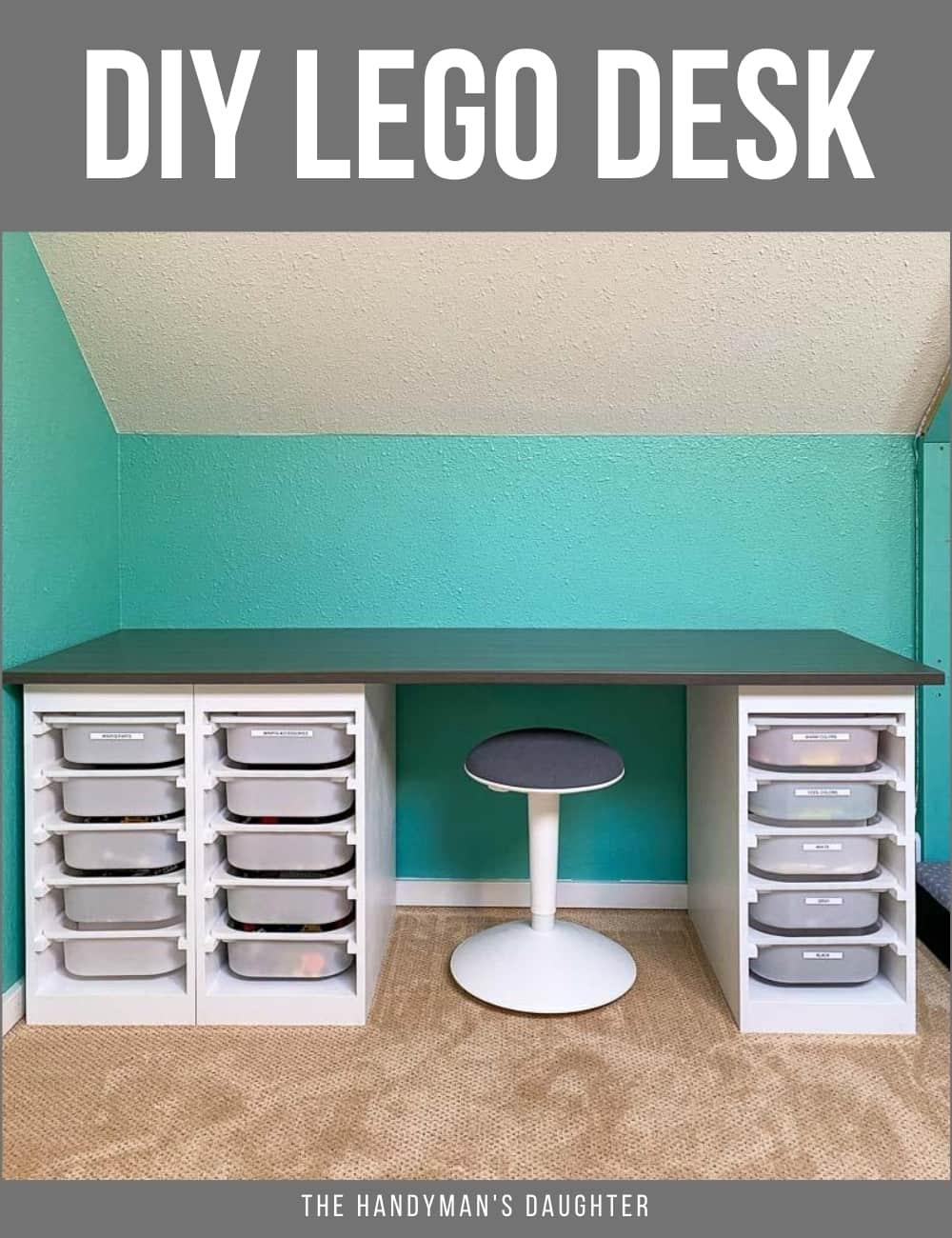 DIY Lego desk with IKEA Trofast bins