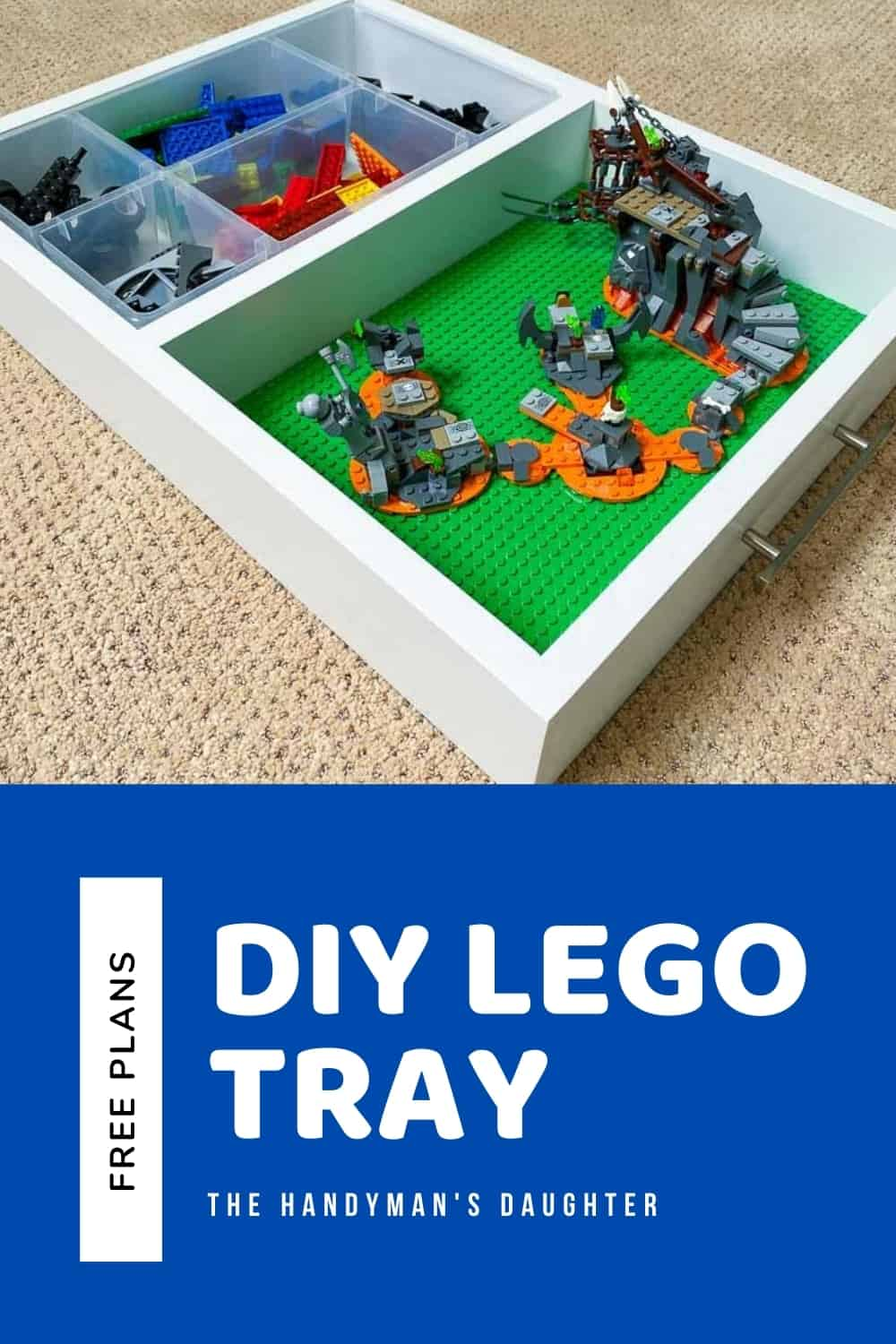 DIY Lego tray with free woodworking plans from The Handyman's Daughter