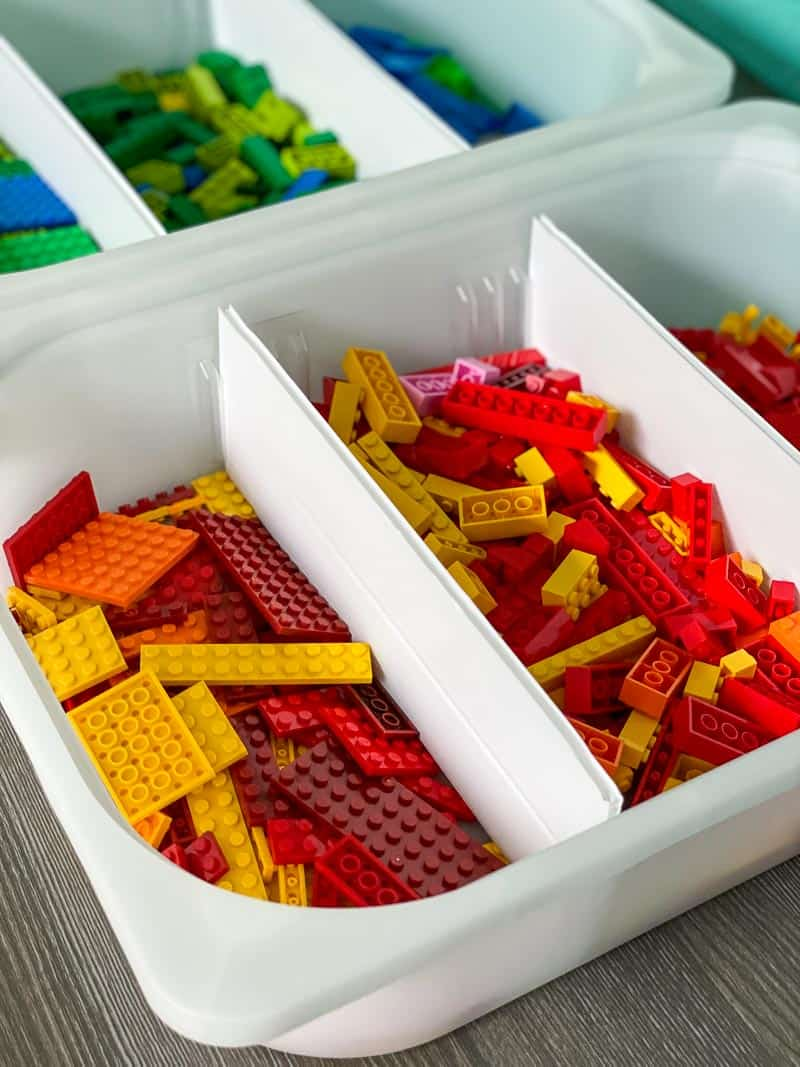 lego pieces sorted into bins with DIY drawer dividers