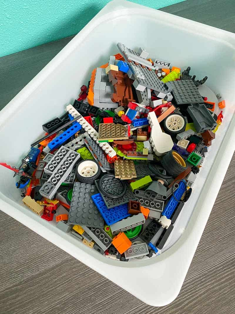 jumbled drawer full of Lego pieces
