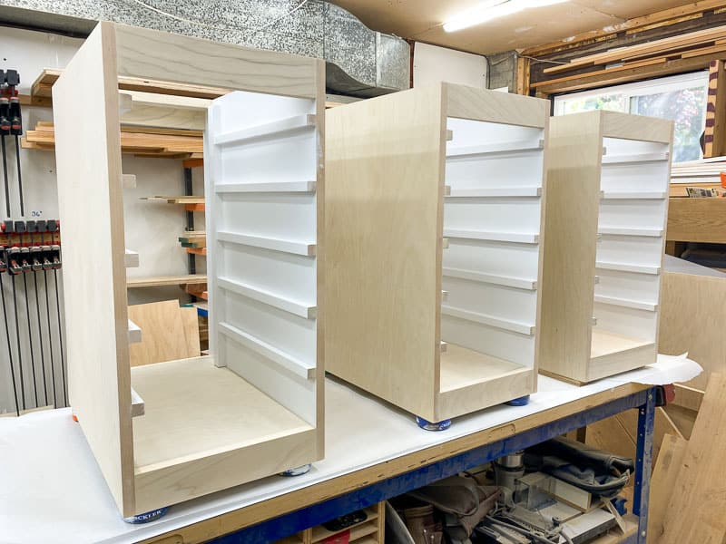 Lego desk drawer units on the workbench ready for paint
