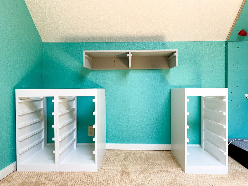 DIY Lego desk drawer units arranged in room with gap for seating