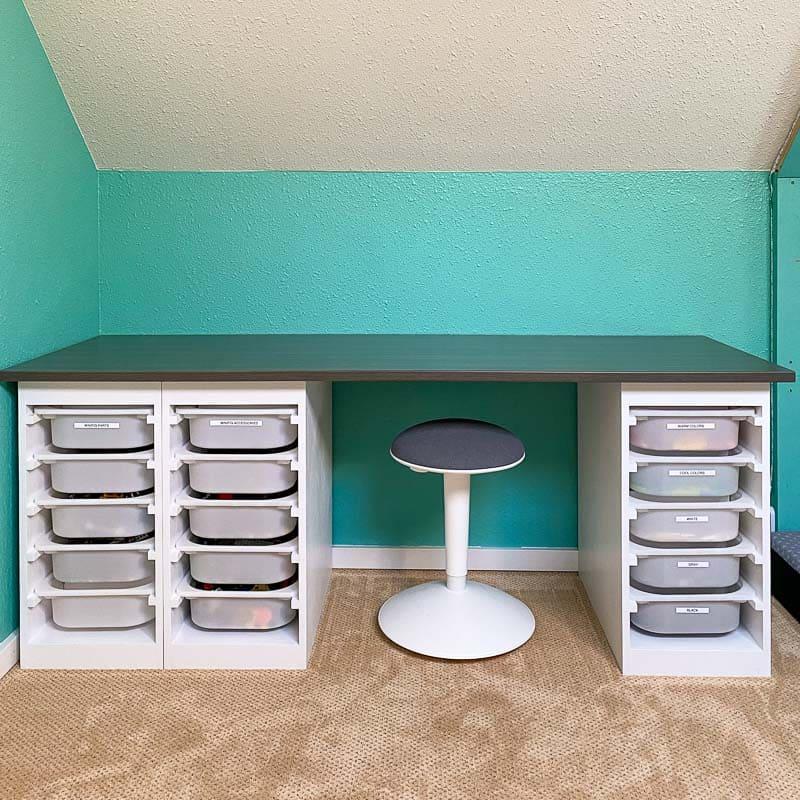 DIY Lego desk with storage bins