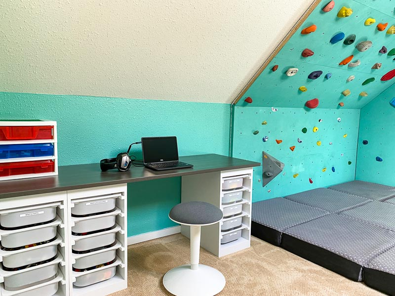 DIY Lego desk with climbing wall in bedroom