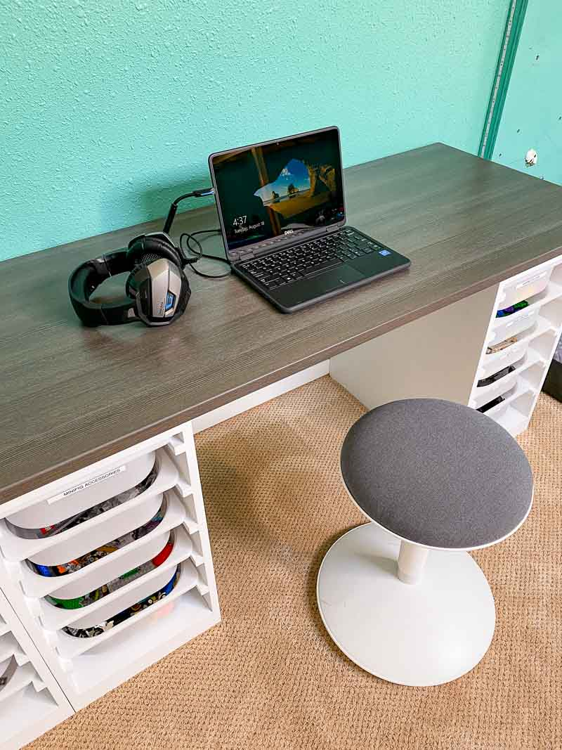 DIY Lego table with laptop and headset for remote learning