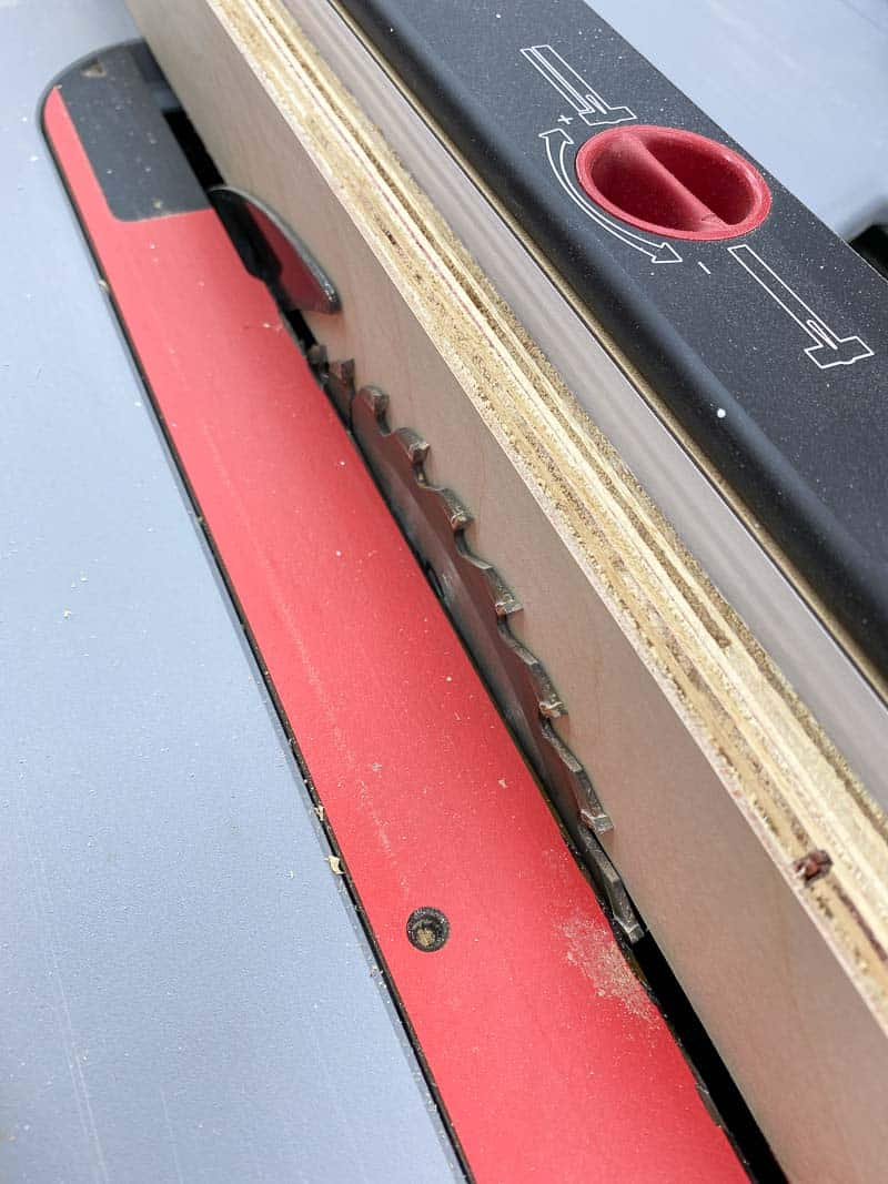 setting table saw to the thickness of the plywood for the Lego desk drawer runners