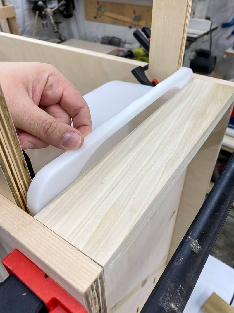 testing drawer slide size with bin