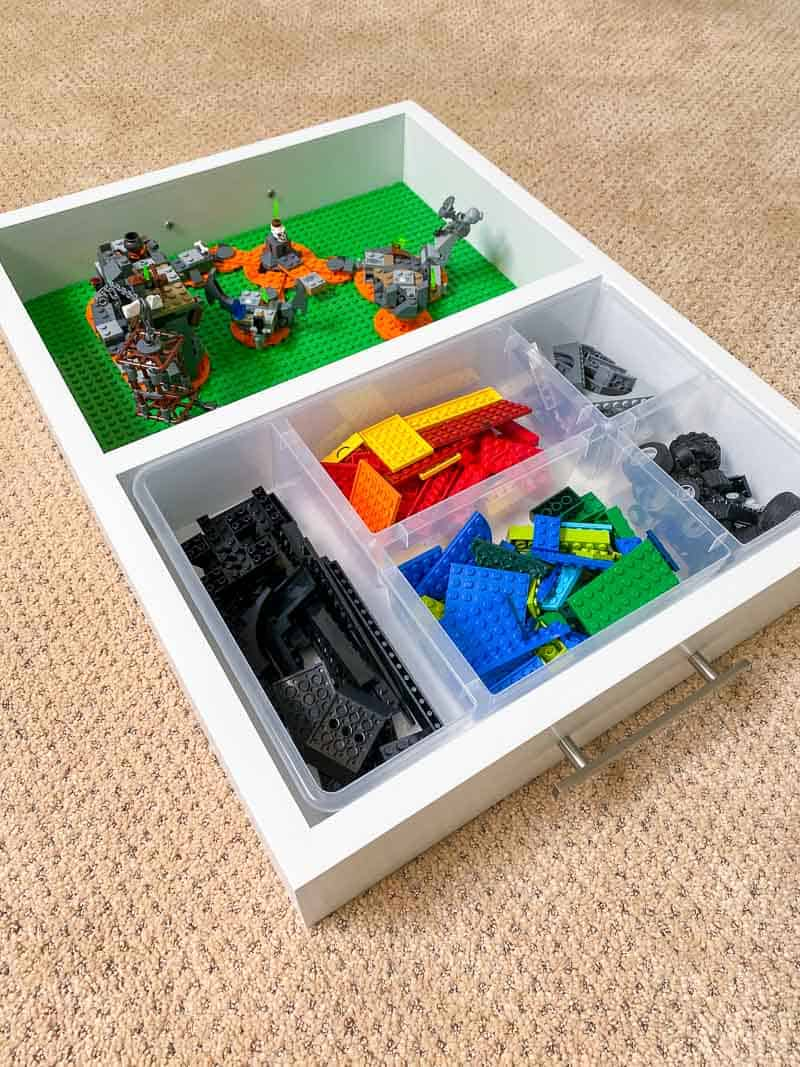 DIY Lego tray with plastic organizer and base plates