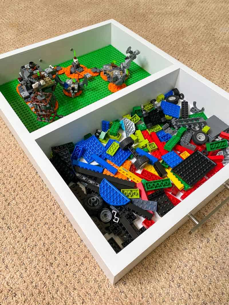 two sided Lego tray with storage