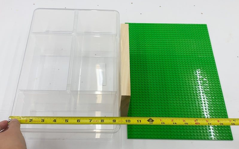 measuring parts of Lego tray for base