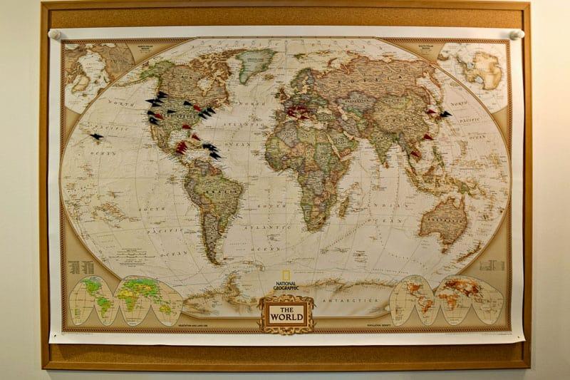 DIY push pin travel map on plain bulletin board