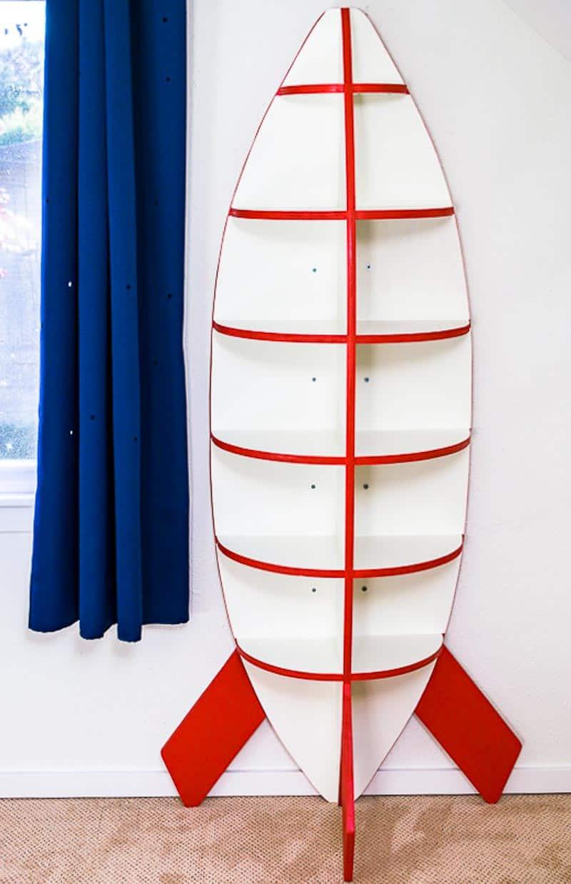 front view of DIY rocket bookshelf