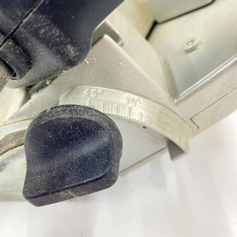saw blade set to 45 degrees for cutting French cleats