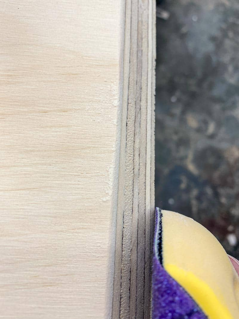 sanding point of French cleat to prevent splits