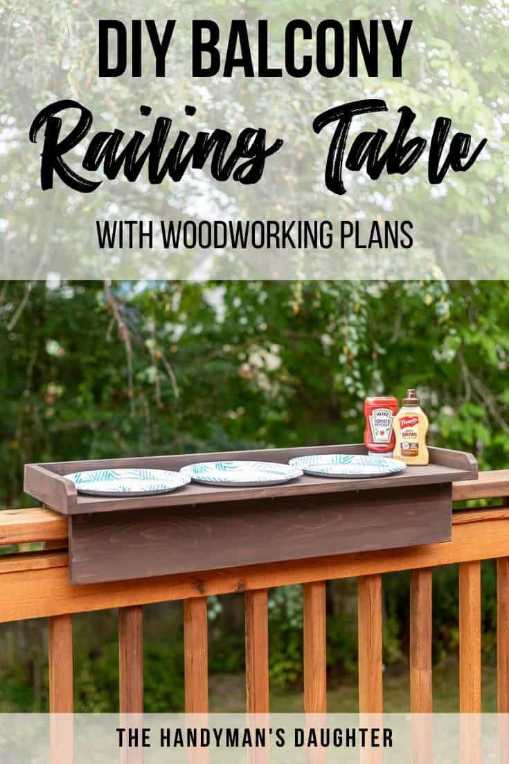 DIY balcony railing table with woodworking plans