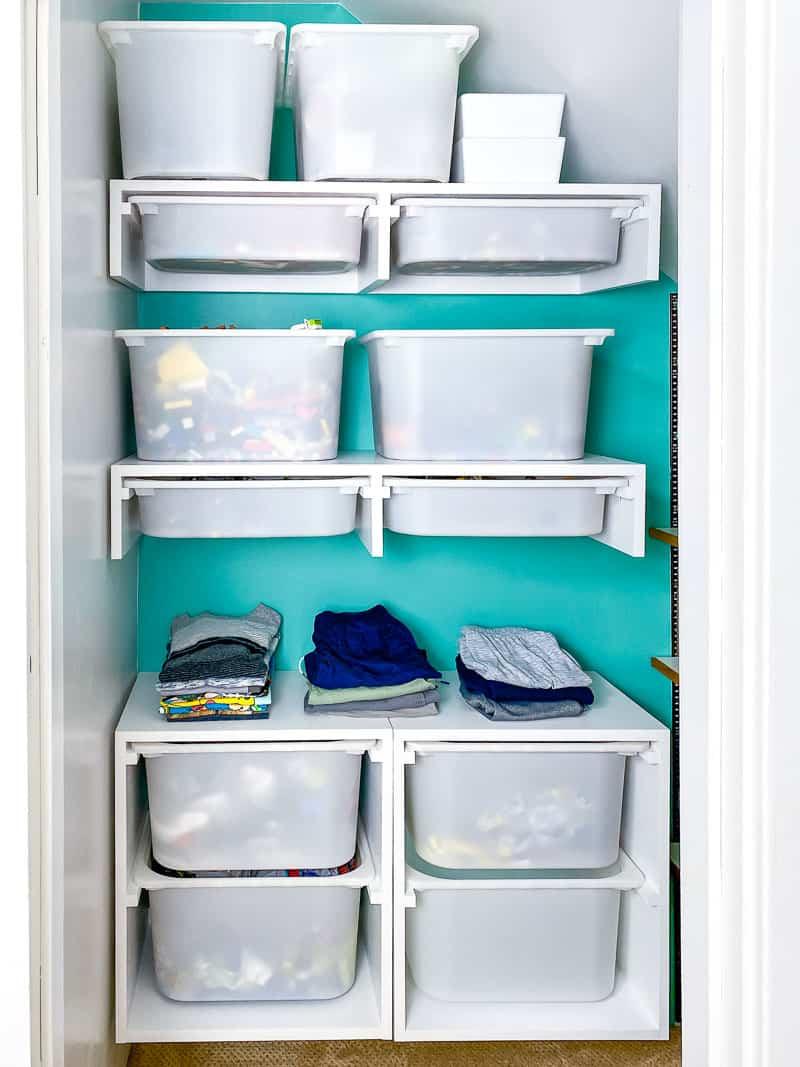 DIY custom closet with shelves and storage bins