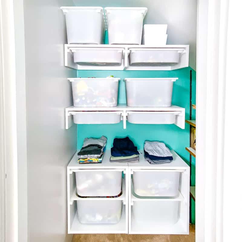 DIY custom closet with slide out bins