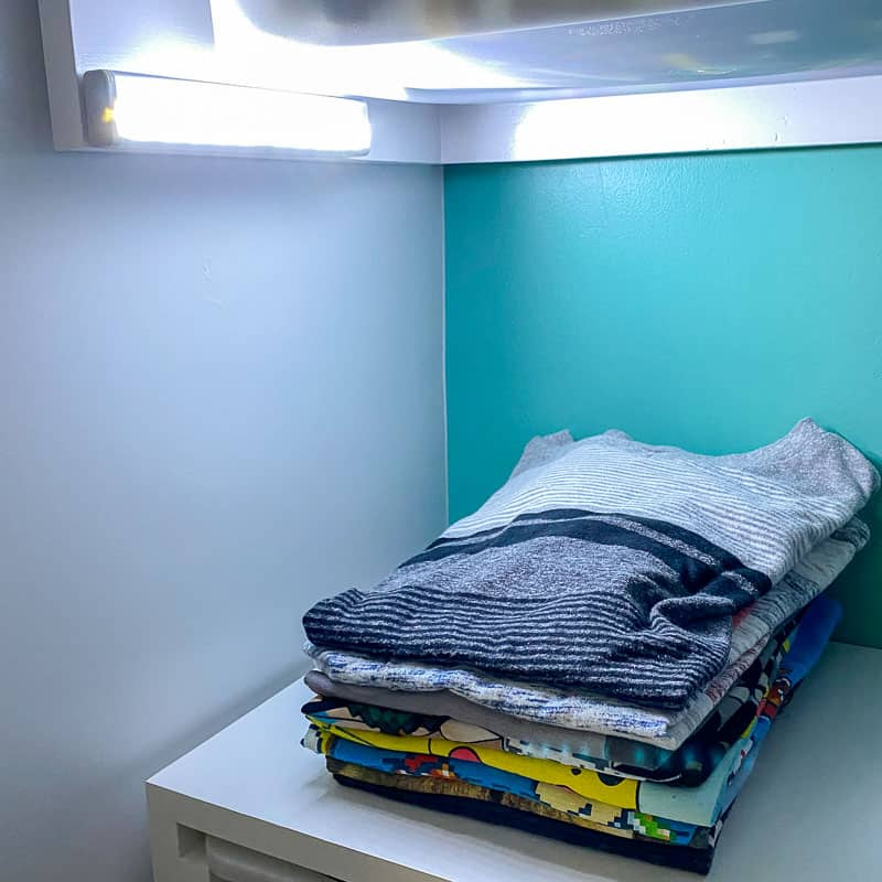 battery powered motion activated LED lights in custom closet