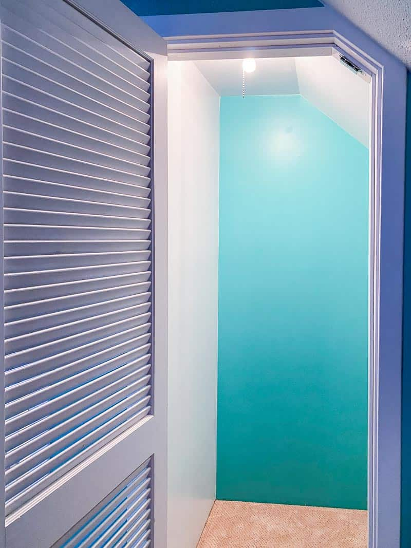 closet with back wall painted bright blue