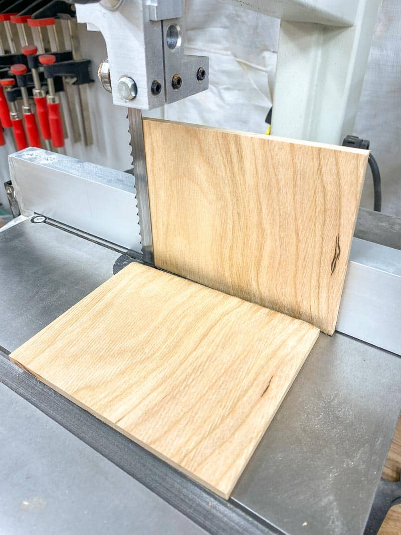"""resawing cherry board into ¼"""" thick pieces"""