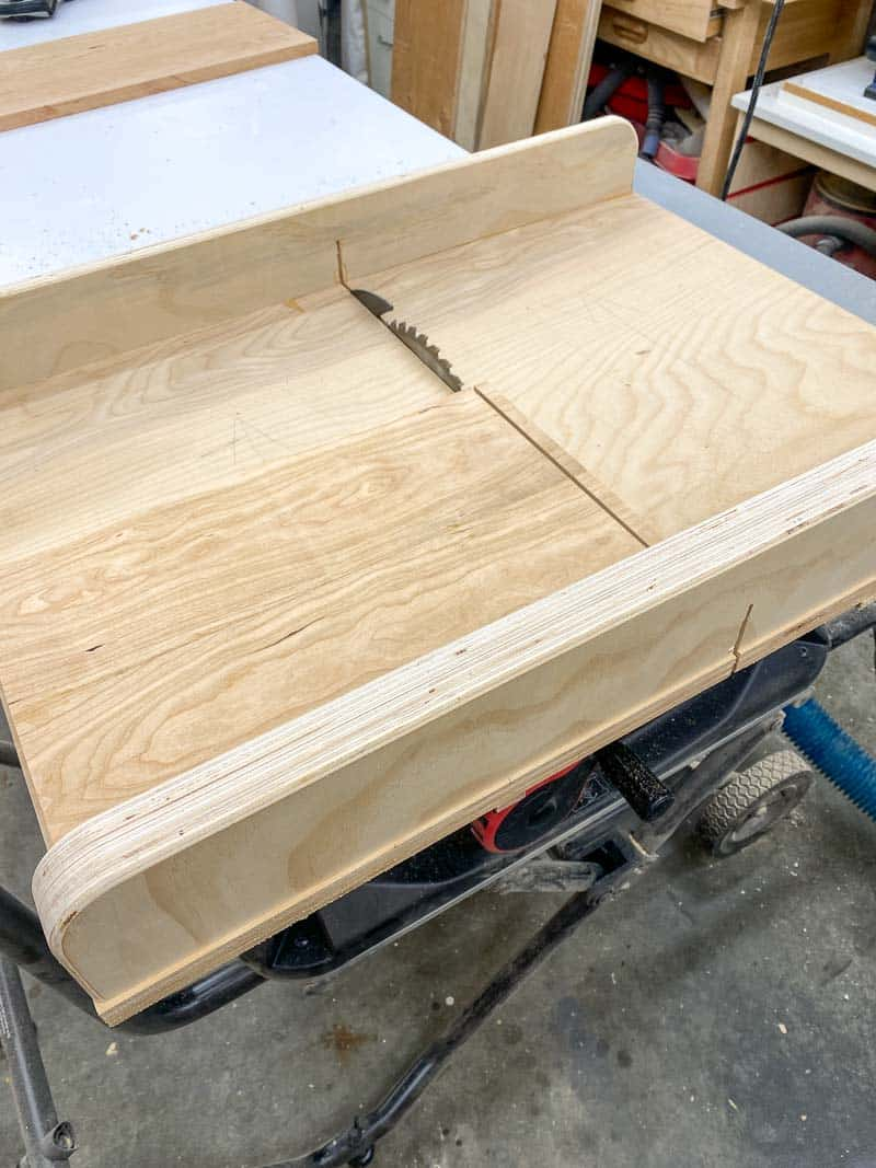 cutting panel to length at the table saw on a crosscut sled