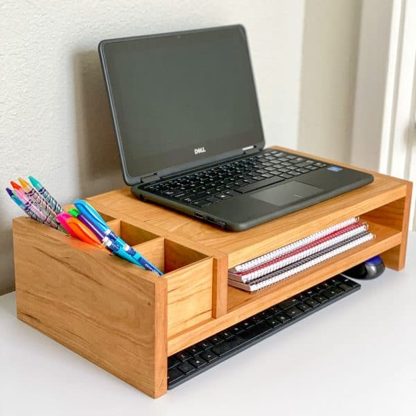 DIY laptop stand side angle