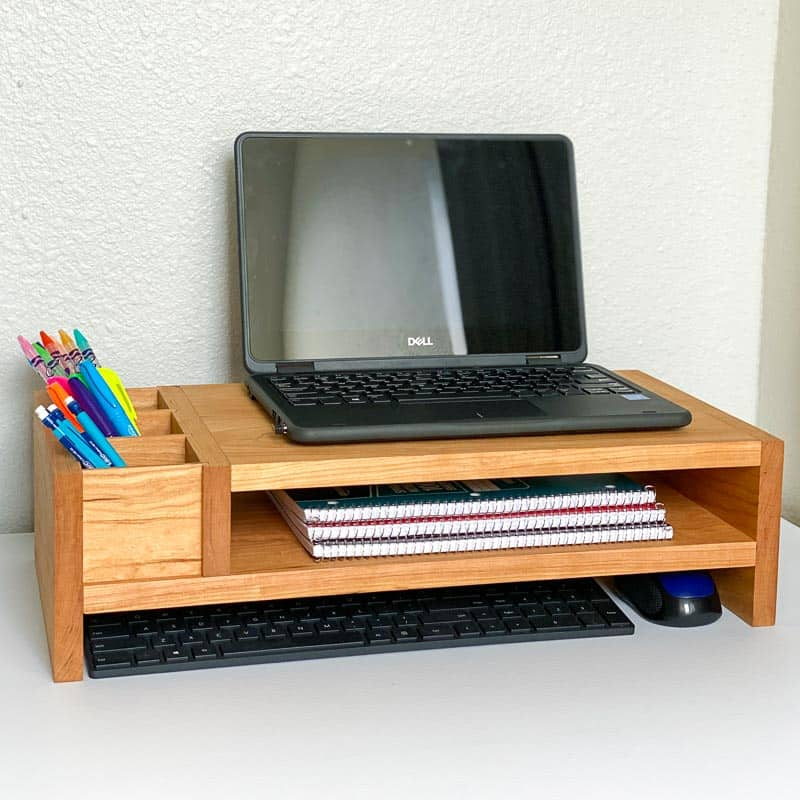 DIY monitor stand with shelf for keyboard and mouse