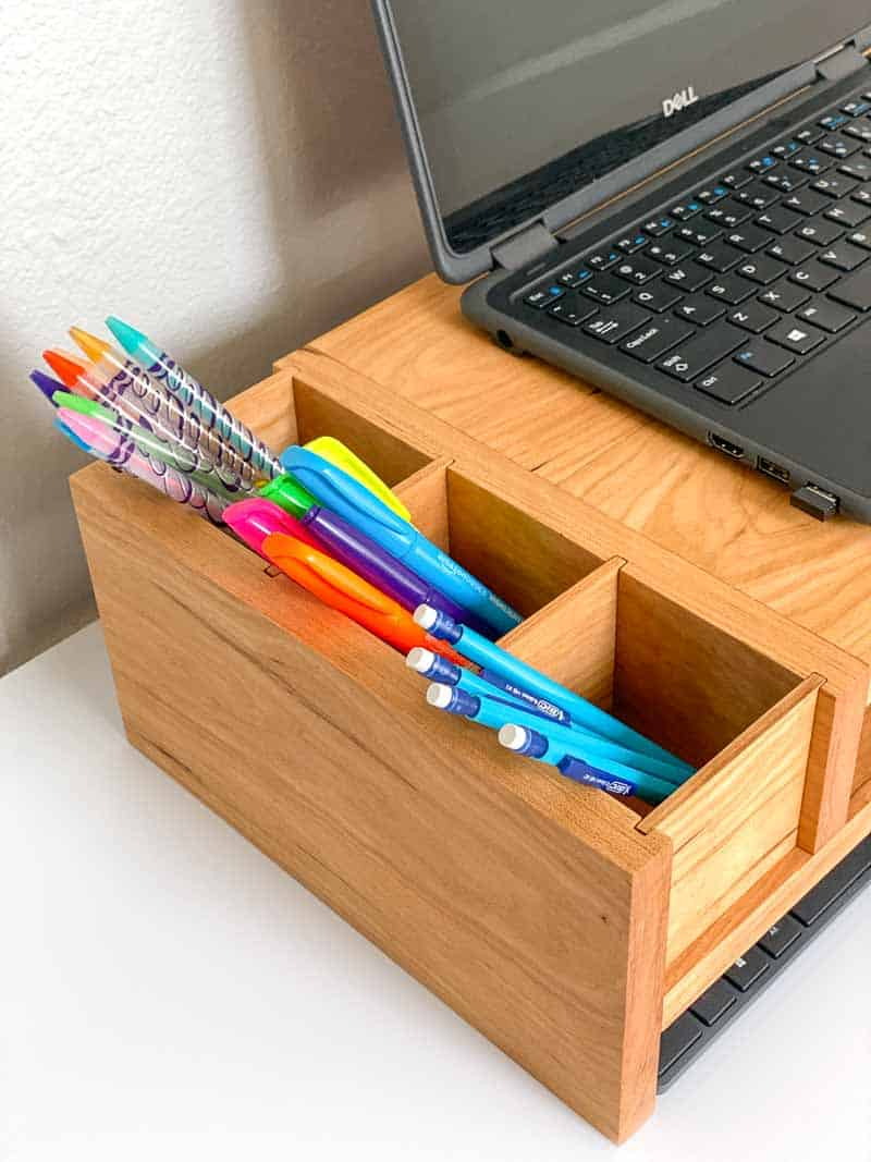 DIY laptop stand with pencil storage