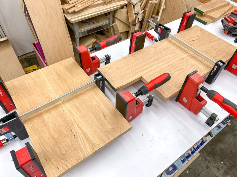 wood boards in clamps