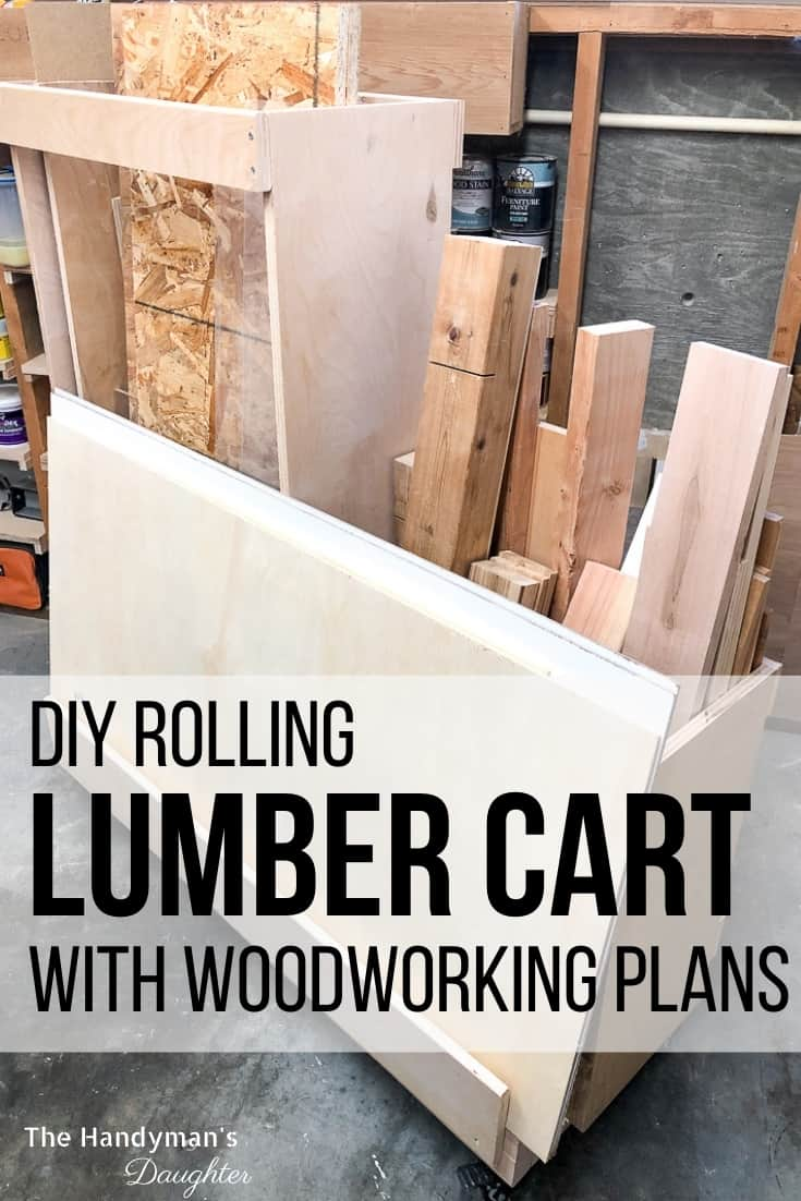 DIY rolling lumber cart with woodworking plans