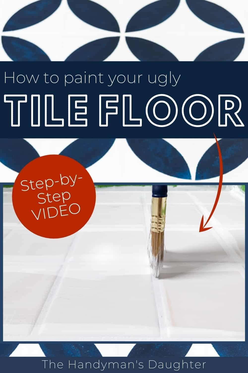 how to paint your ugly tile floor with step-by-step video