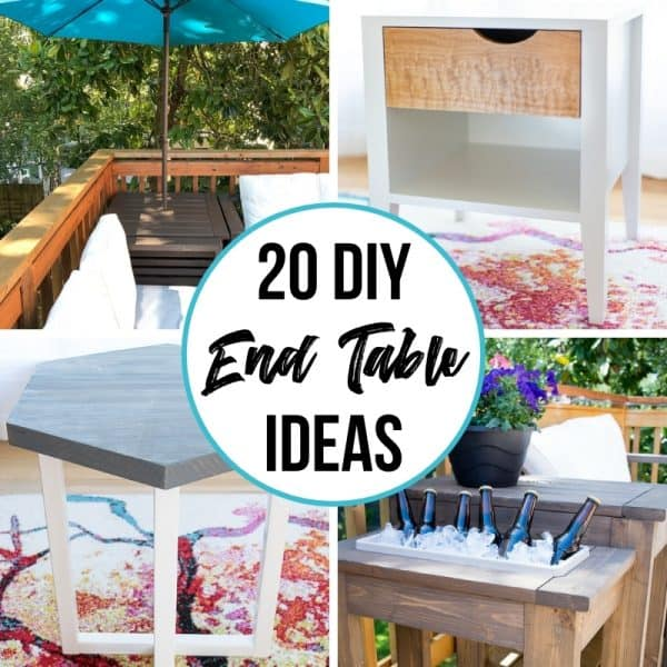 collage of DIY end table ideas