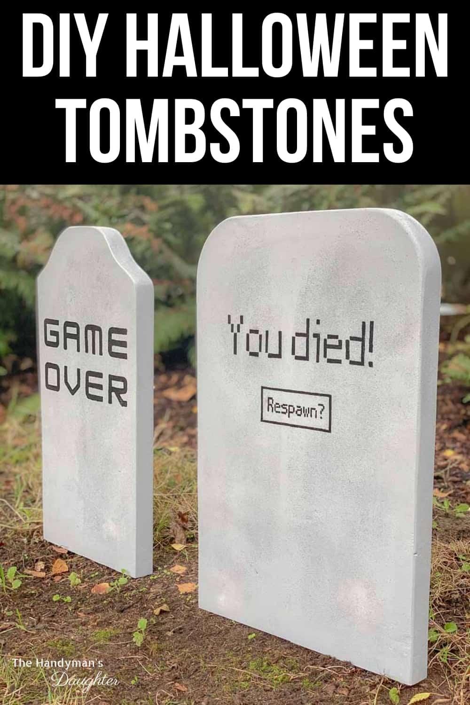 DIY Halloween tombstones in yard