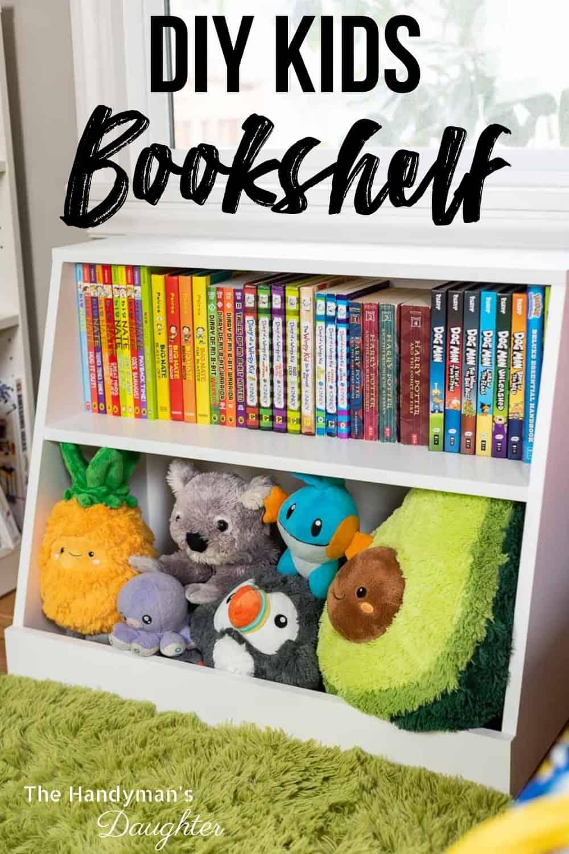 DIY kids bookshelf with toy storage