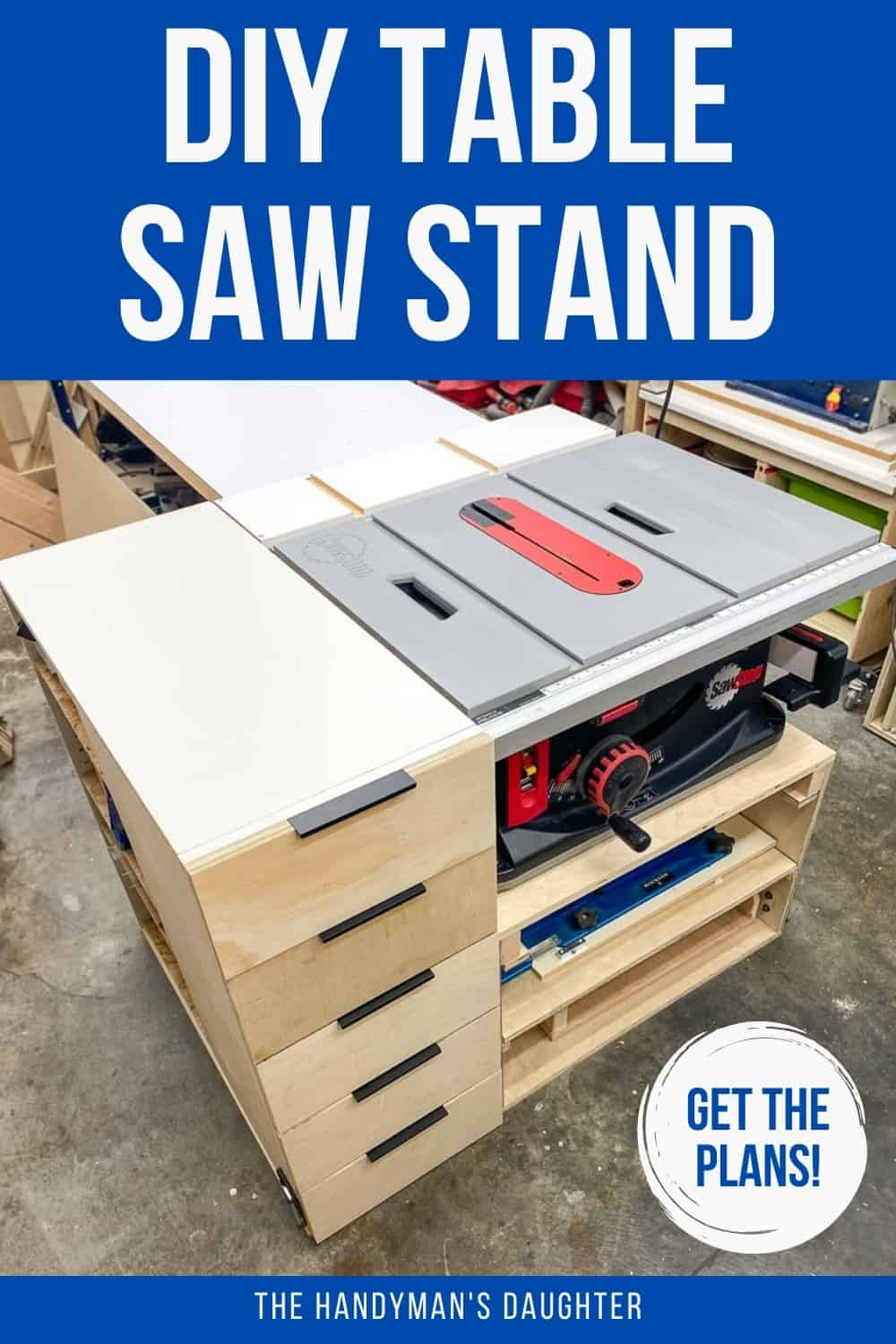 DIY table saw stand with drawers