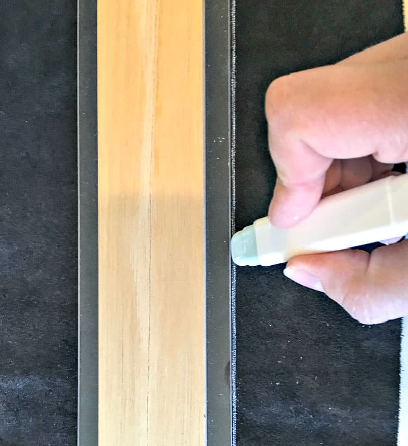 marking leather with a chalk wheel for cutting the leather