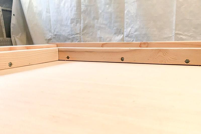 assembled frame of upholstered headboard
