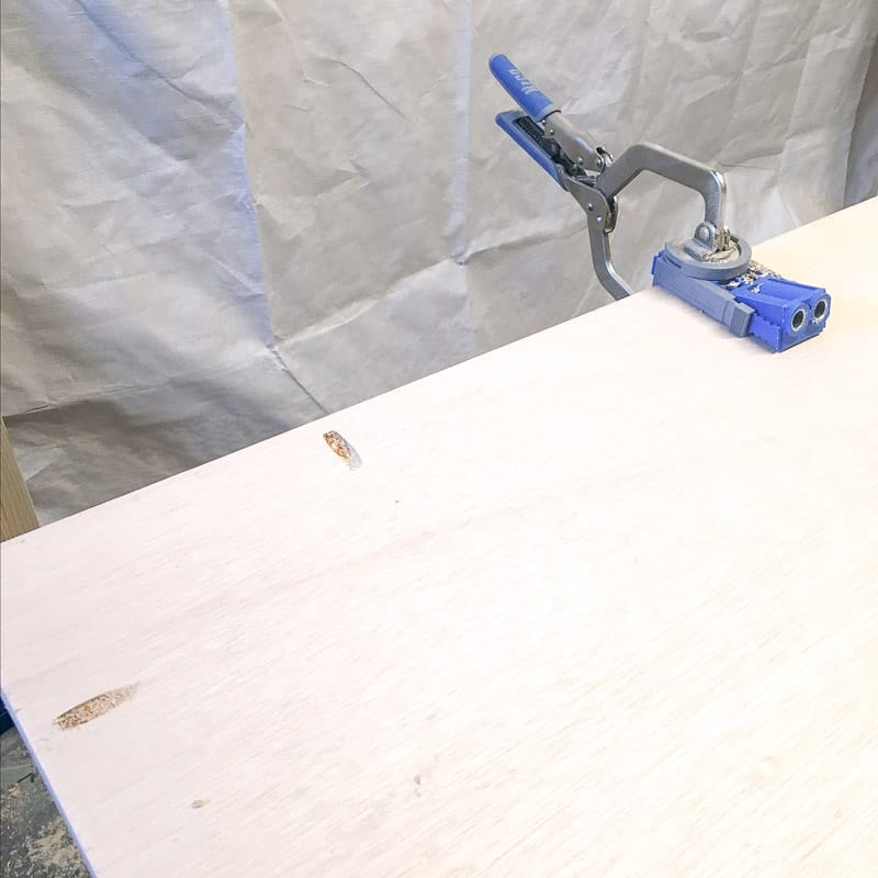 drilling pocket holes along outside edge of plywood backing