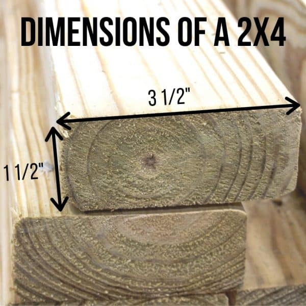 dimensions of a 2x4