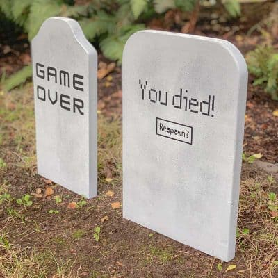 DIY Halloween tombstones in yard