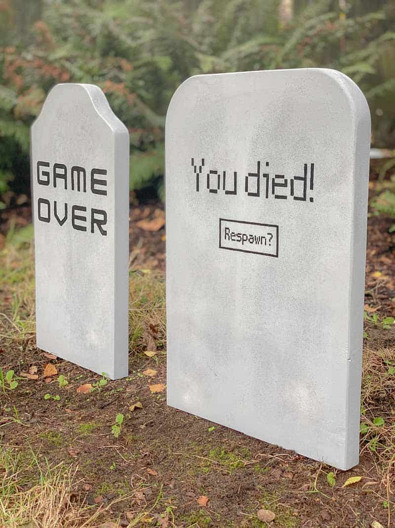 DIY Halloween tombstones with funny sayings