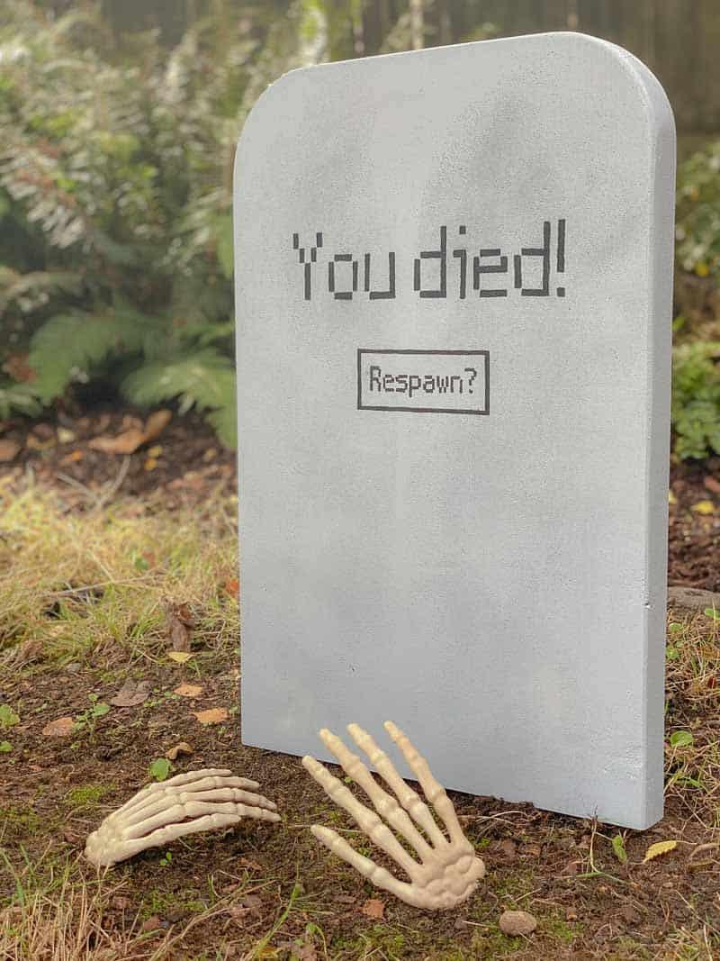 DIY Halloween tombstone with skeleton hands