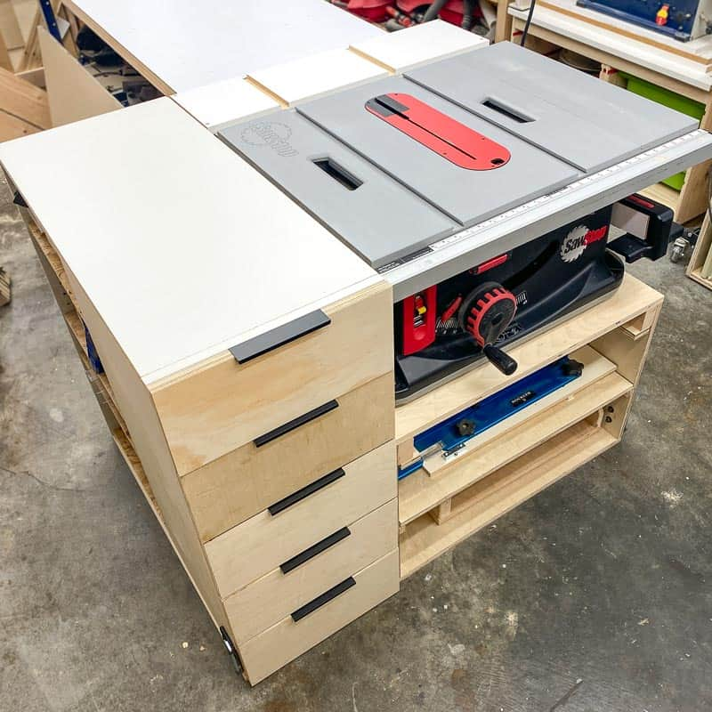 table saw stand with sled storage and drawers