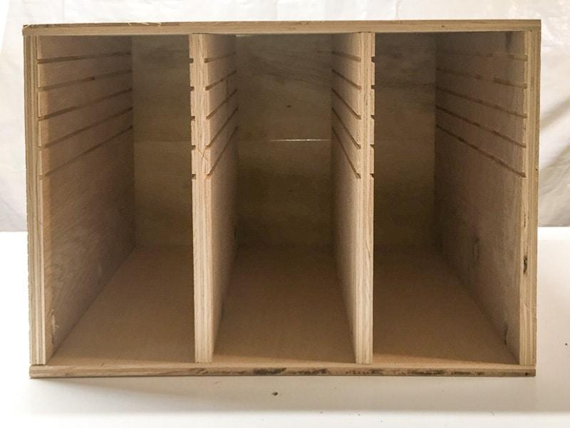 sandpaper organizer before installing dividers