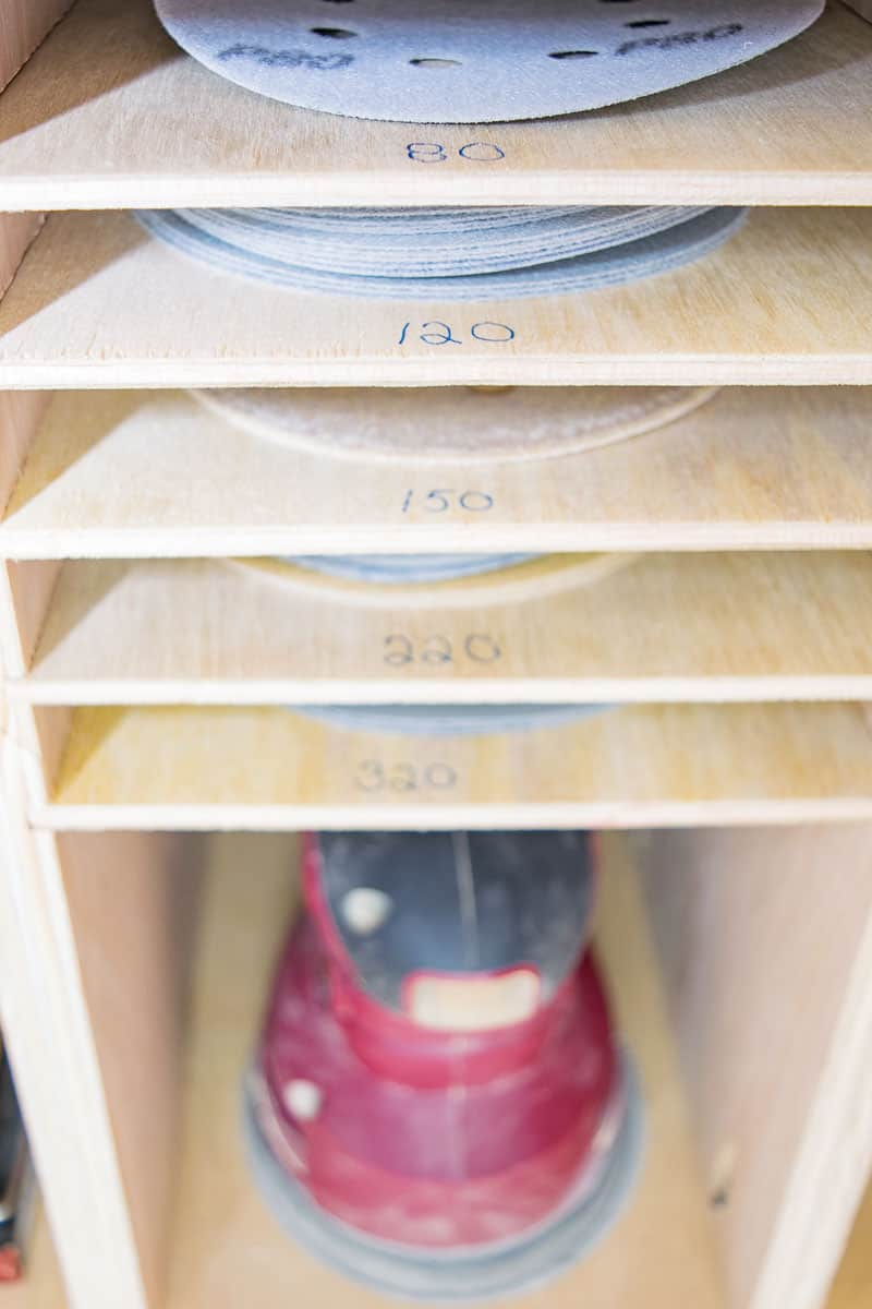 sandpaper organizer with sander storage