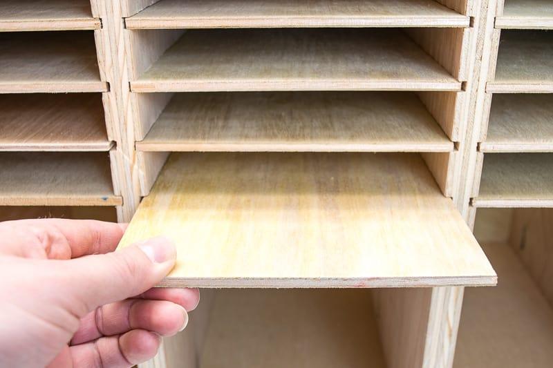 sandpaper organizer shelves