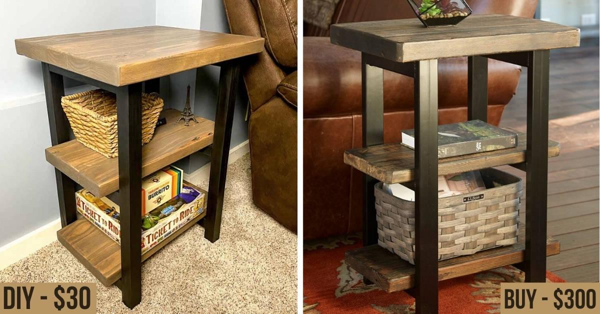 Buy versus DIY comparison of rustic end table