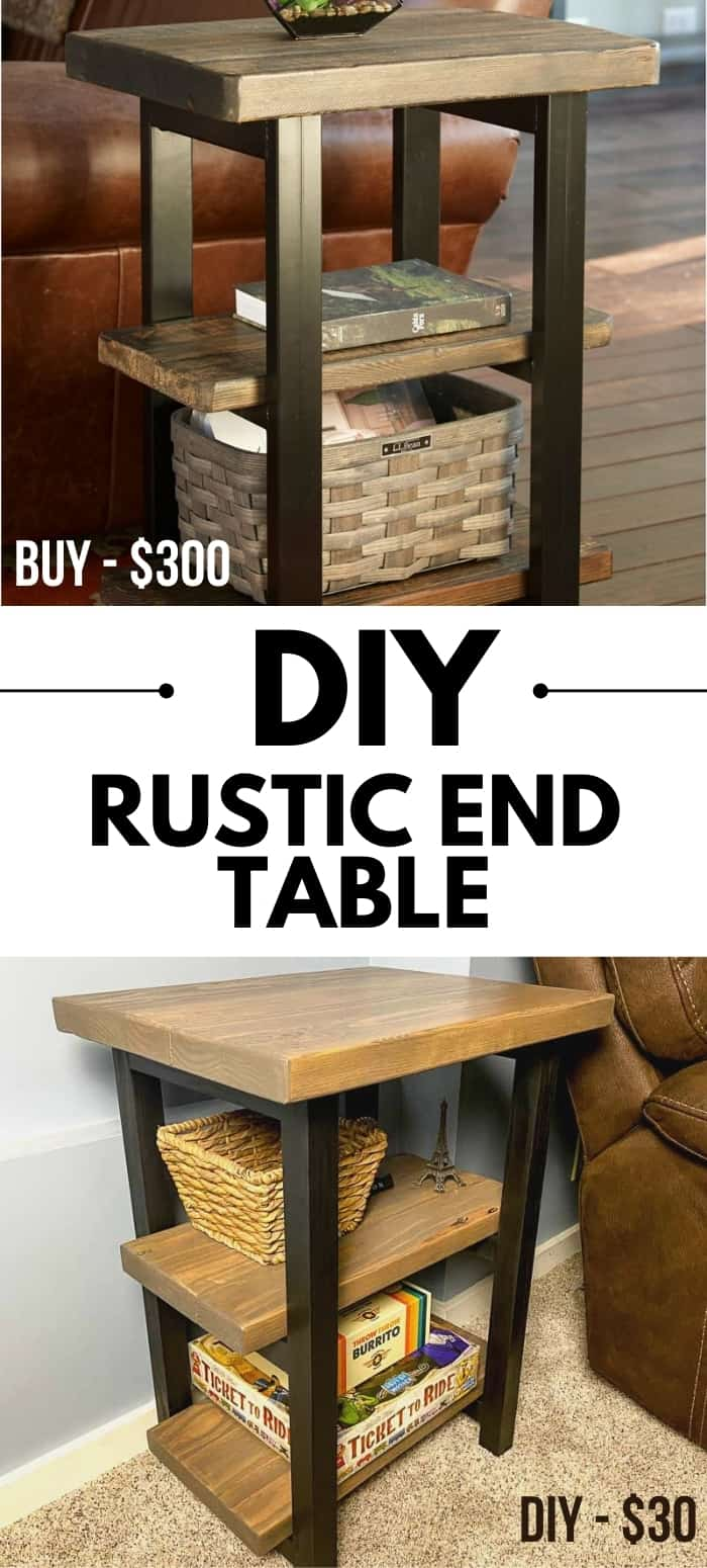 comparison of expensive store bought rustic end table and DIY version