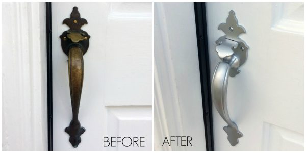 spray painted door hardware