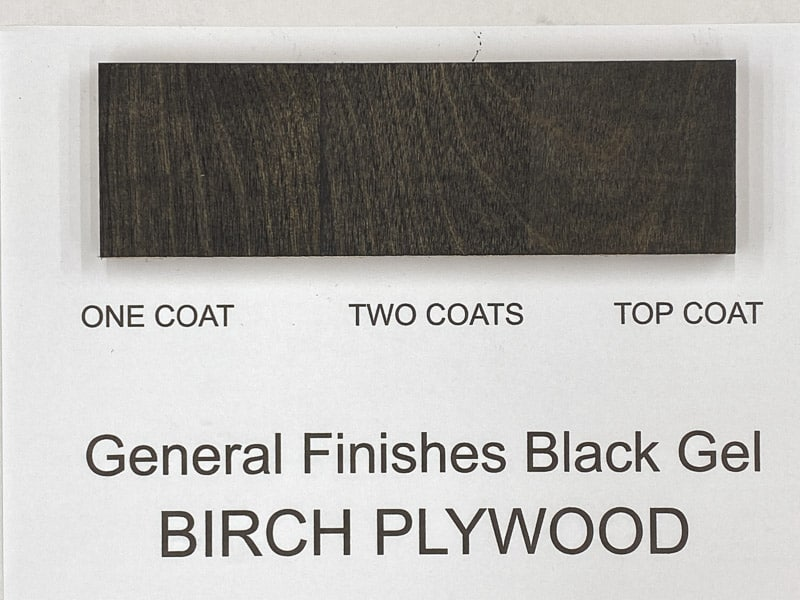 General Finishes black gel stain on birch plywood